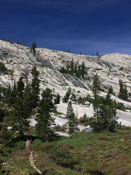 Beautiful granite hills with waterfalls.