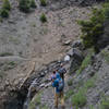 Erosion and low quality rock define a few gullies along the trail