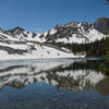 Icy reflections on Avalanche Lake
