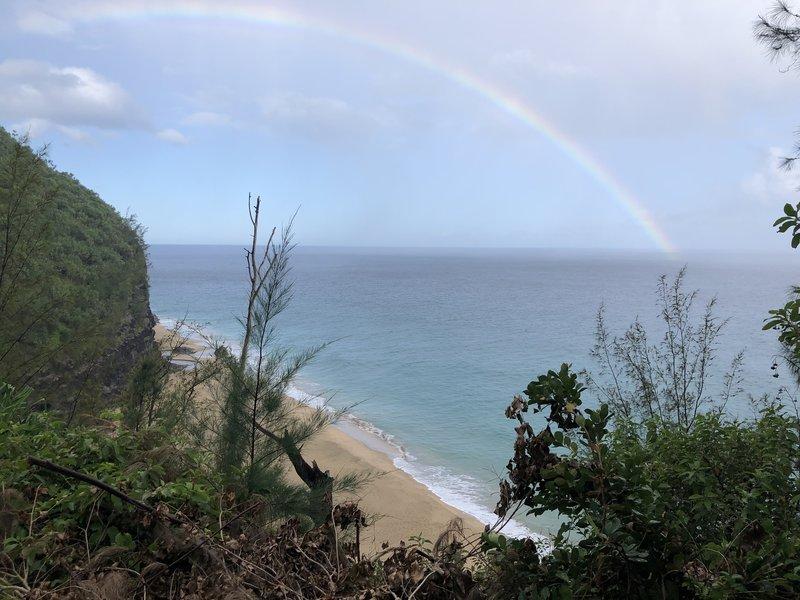 View of Hanakapia'i Beach with Rainbow