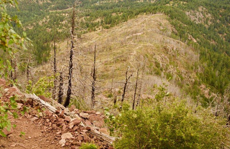 Looking down on the approach of Bear Peak West Ridge trail