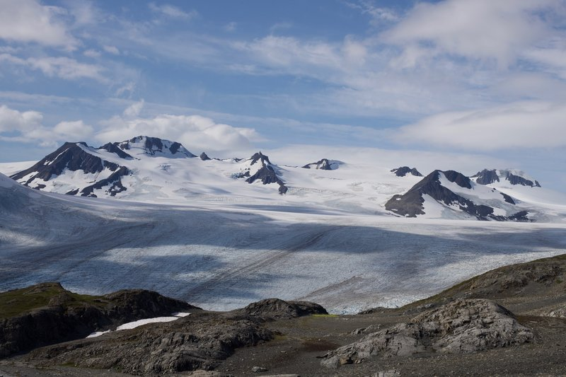 As you approach the end of the trail, the Harding Icefield spreads out before you. It is an awesome sight to see the source of over 40 glaciers.