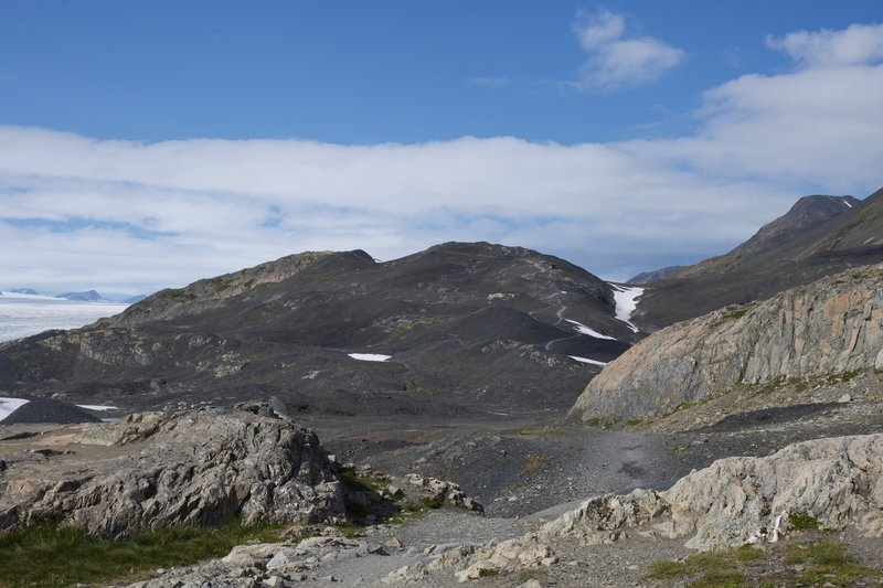 Toward the end of the trail, it levels out before climbing up the hillside past the Harding Icefield Shelter.