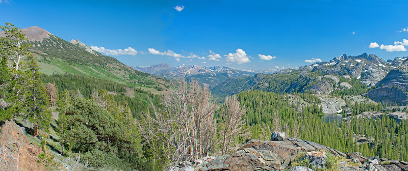 Looking down San Joaquin River canyon with San Joaquin Mountain on the left and the Ritter Range on the right. Mammoth Crest is in the center with the Silver Divide behind it. Badger Lake is on the right.
