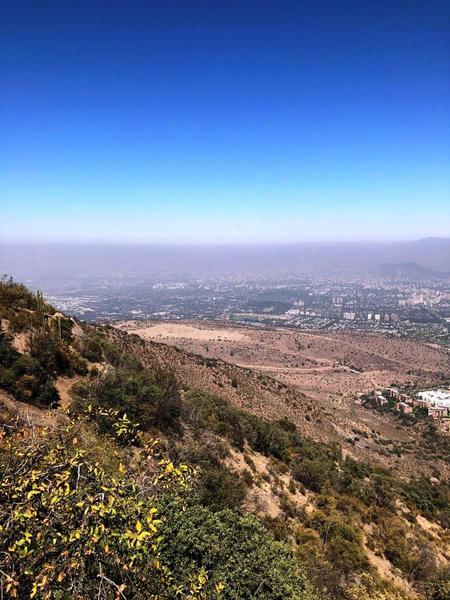 A layer of smog in the city.