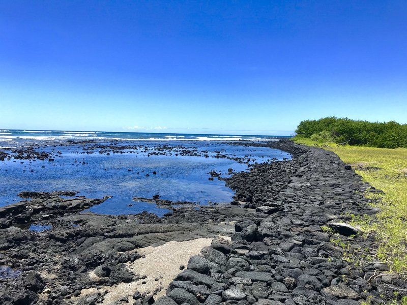 A lava stone pathway follows the beautiful cost. Keep your eye out for turtles!