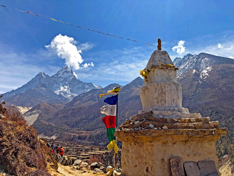 View of Mt. Amadablam during the trail to Dingboche from Tengboche.