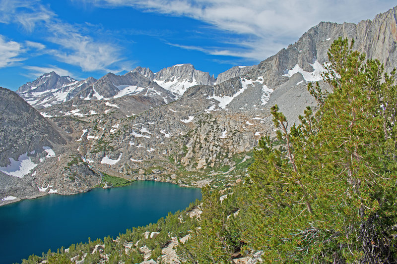 Ruby Lake with 13,000 foot peaks in the background. Left to right: Mt. Date, Mt. Abbot, and Mt. Mills.