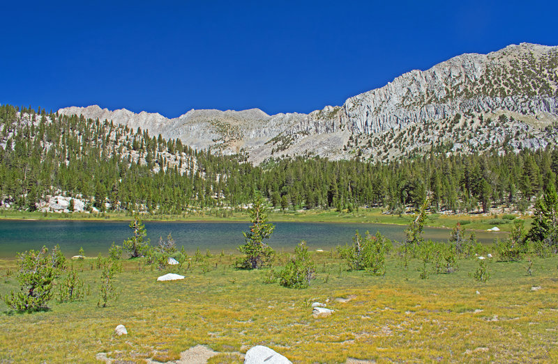 Lowest Pioneer Basin Lake and its surrounding meadow. The largest of the campsites here is often used by people whose gear is brought in by pack mules.