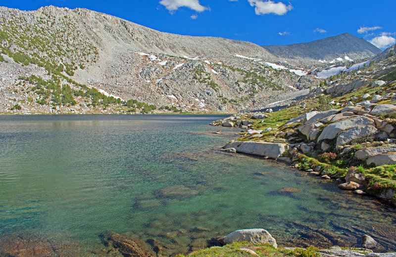 Second Lake in Pioneer Basin. There are excellent, but smaller, campsites here.