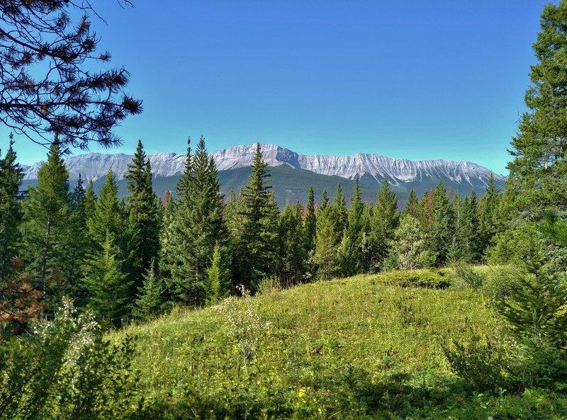 Roche De Smet of the De Smet Range, looking west-southwest from the Celestine Lake Trail.