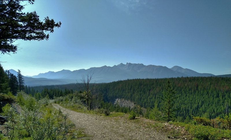 Mountains of the Jaques Range across the Athabasca River Valley, in the distance to the south-southeast, come into view as the Celestine Lake Trail climbs.