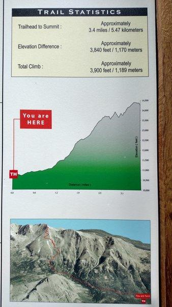 Trail profile at N. Halfmoon trailhead