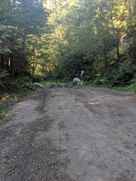 The trailhead. Walk past the boulders. The road quickly turns into a trail.