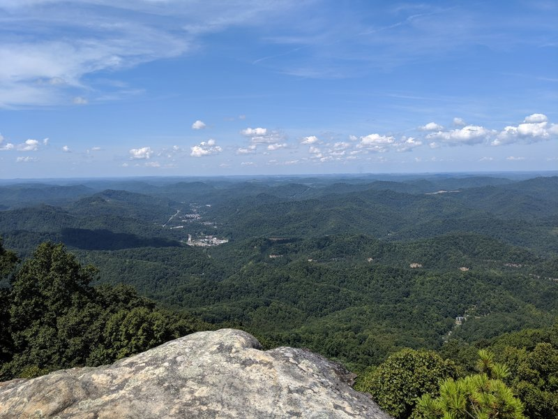 The view from High Rock west looking down into the city of Whitesburg, Kentucky.
