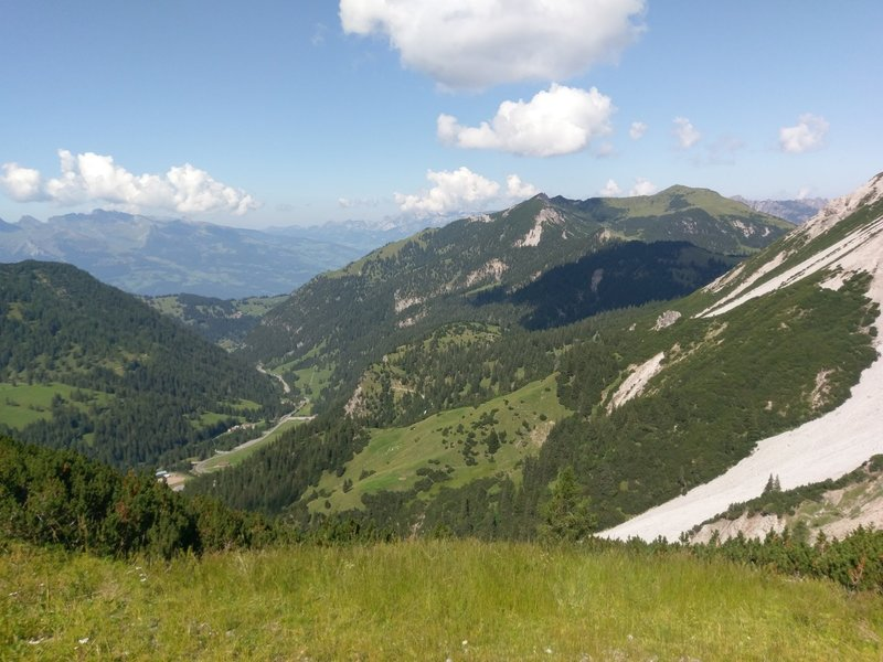 NW views downvalley past Malbun towards Vaduz