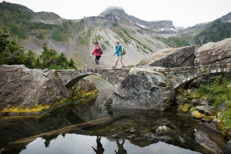 Two arched bridge sections add some unexpected flair to the alpine scenery.
