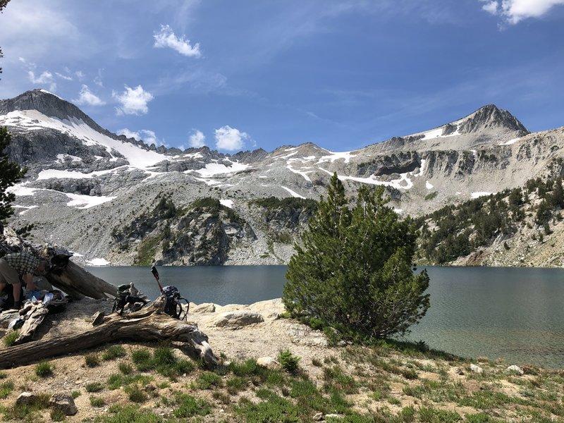 Glacier Lake with Glacier Peak on left, Eagle on the right