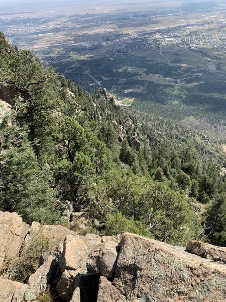 "The is only .25 miles off the Dixon trail, ""Dragons Backbone"" trail.  Looking down the mountain."