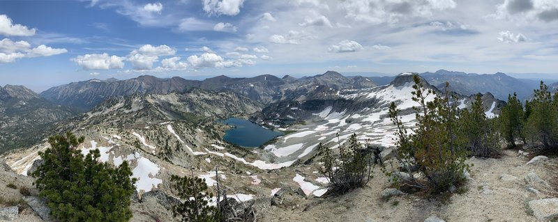 Glaicer Lake from Eagle Cap Summit looking east.  The Wallowa River canyon is visible.