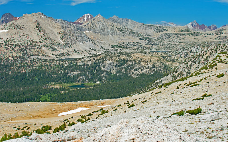 Mono Recess viewpoint and easy 1 mile hike from Mono Pass. You can see the 1st, 2nd, and 4th lakes in the Pioneer Basin.  Red and White Mt. and Red Slate Mt. are peeking over the basin's western rim.