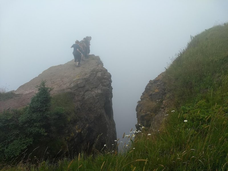 at the very tip of the peninsula. Very foggy day.