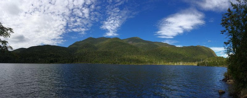 Lake Colden just north of the junction with Mt Colden Trail. Looking at base of Marshall, Iroquois, Algonquin, Avalanche