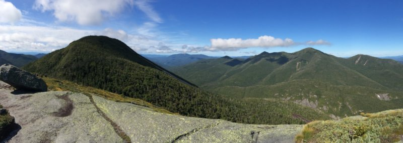 View from false summit of Colden. MacIntyre Range on the right (west/southwest). True summit of Colden on the left (south)