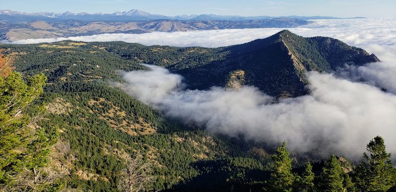 Looking northward from Bear Peak, with Boulder under a cloud.