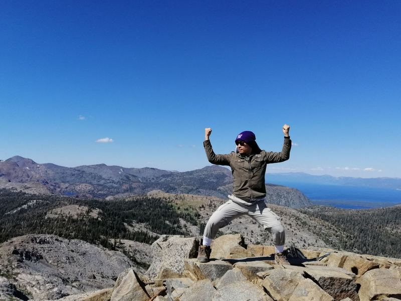 A relatively short but strenuous hike towards the Ralston Peak led to a rewarding view of the Desolation Wilderness. Among the visible landmarks from this picture are Mt. Tallac, Lake Tahoe, and the Fallen Leaf Lake.