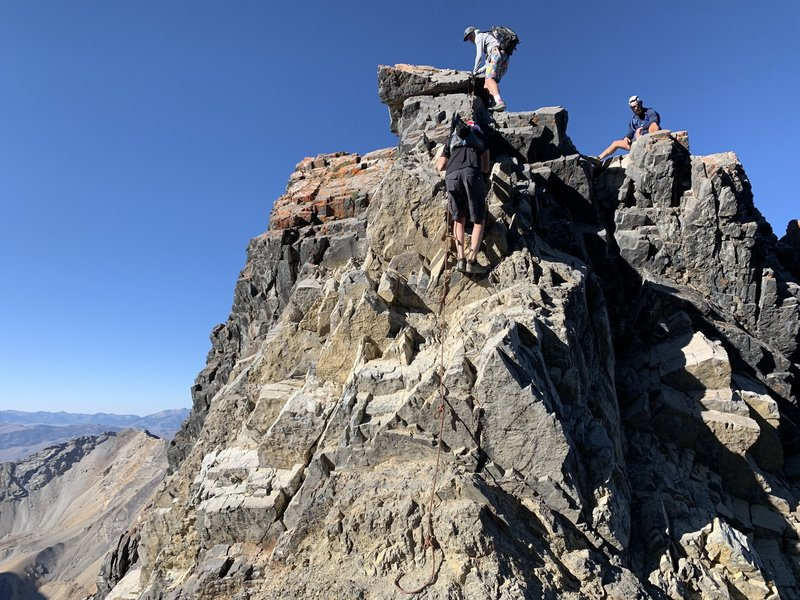The 20 foot Class 4 scramble at the end of Chicken-Out Ridge (the rope may not always be there).