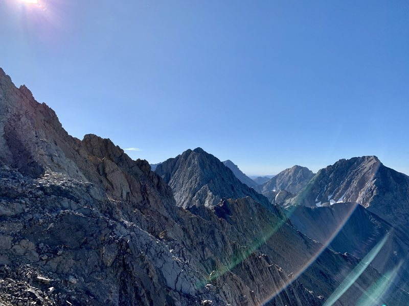 Looking to the east, and the others peaks along the Lost River Range, on the knife ridge after coming down Chicken-Out Ridge