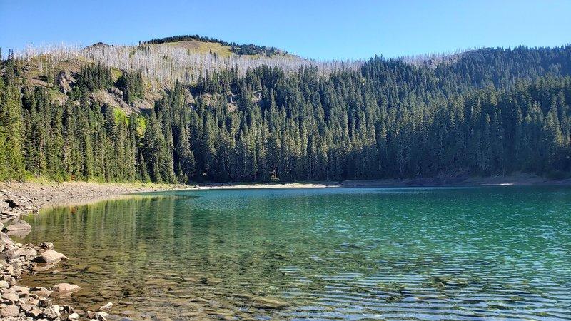 Lost Lake at mile 8 looking north towards Three Peaks trail.