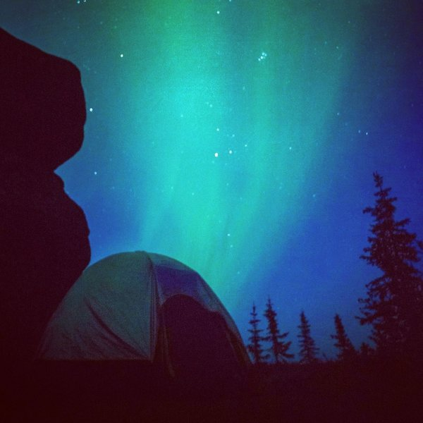 Aurora Borealis over camping spot on Granite Tors Trail.