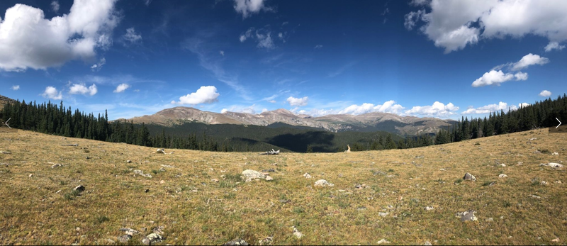 Bierstadt and Evans from Rosedale saddle. Highest point.