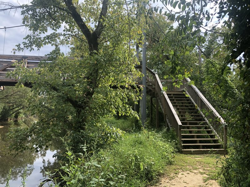 Pedestrian bridge from Accotink Creek Trail to Beaver Dam Loop Trail.