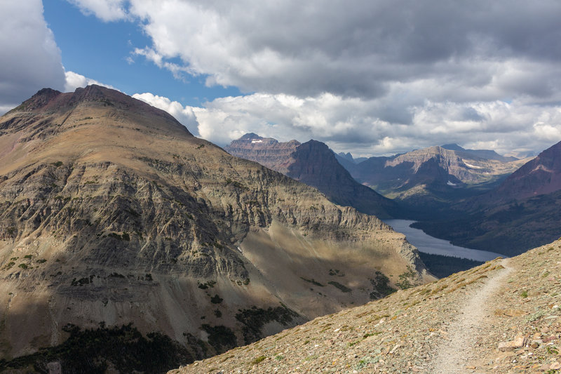 Mount Henry Trail with Two Medicine Lake in the background.