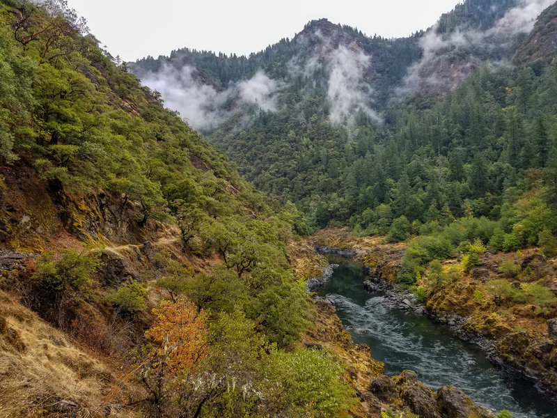 View of the gently flowing Rogue River from the elevated trail on the western shore.