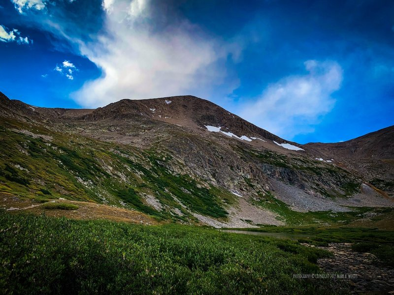 View of the trail up to Mount Democrat. Kite Lake Trailhead, 12,040'. September 3, 2019. That highest looking peak is the false summit.