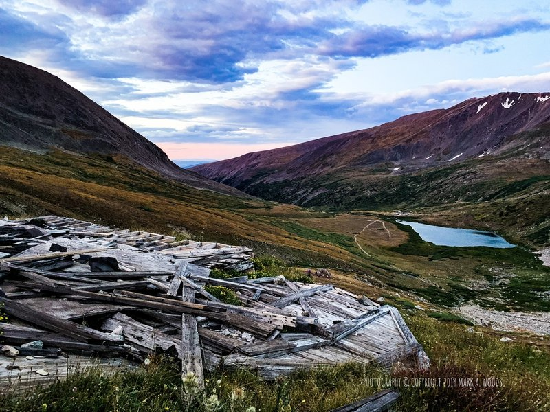07:20 am looking southeast towards the Kite Lake Trailhead. September 4, 2019. One of many old, abandoned mines along the way. The beginning of this trail is right center at that point in Kite Lake