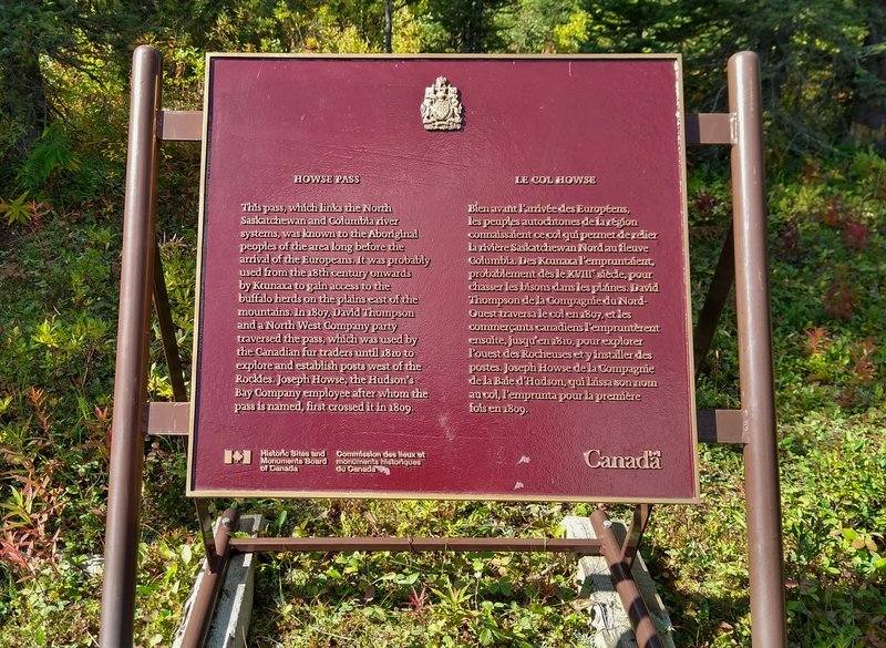 Howse Pass National Historic Site plaque. David Thompson was the first white man to cross the Canadian Rockies here with the guidance of First Nations people, in 1807.