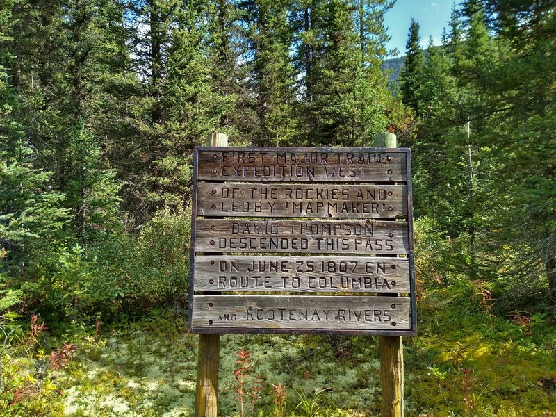 Old historic sign marking Howse Pass National Historic Site.