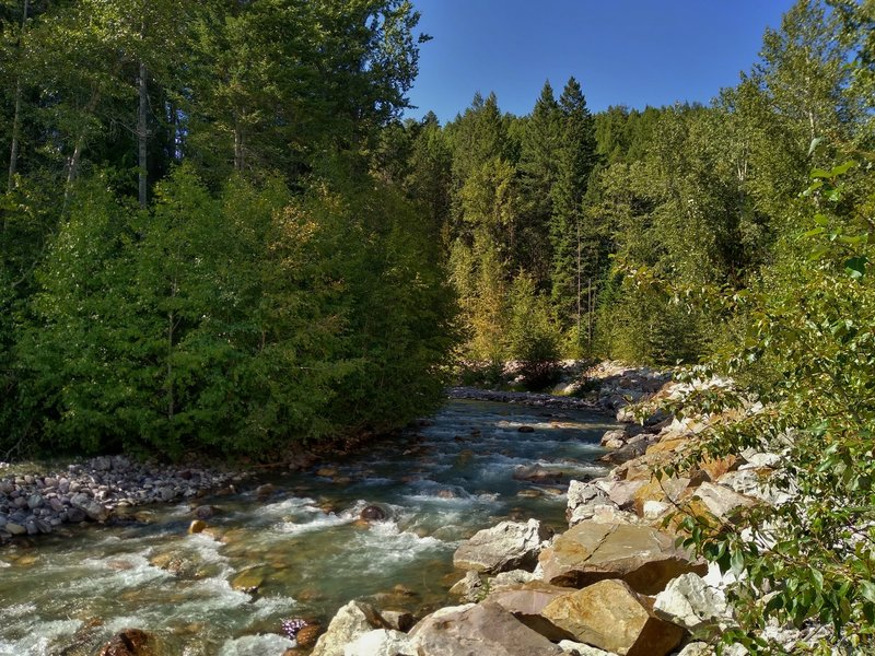 Canyon Creek near the start of Canyon Creek Trail, downstream of its run through the canyon.