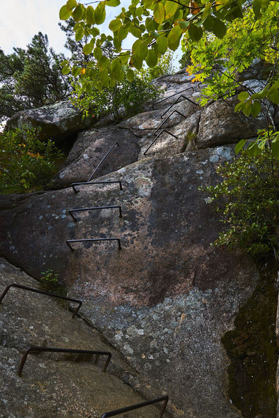 The staple-like rungs of the precipice trail bring you up the steeper sections.