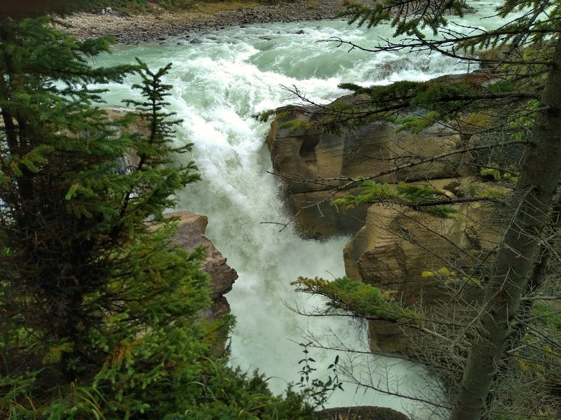 The top falls of Lower Sunwapta Falls. Lower Sunwapta falls has a few major drops.