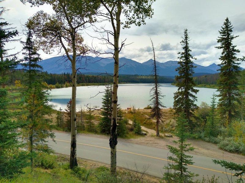 Patricia Lake, seen from the trail along Pyramid Lake Road.