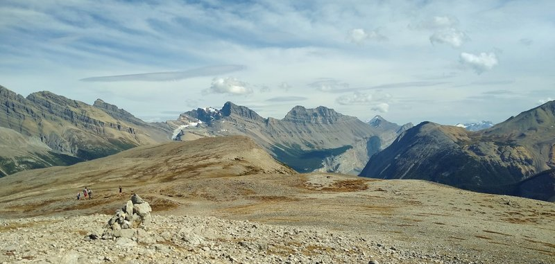 Alpine Parker Ridge surrounded by rugged mountains, is seen when looking east on Parker Ridge Spur.