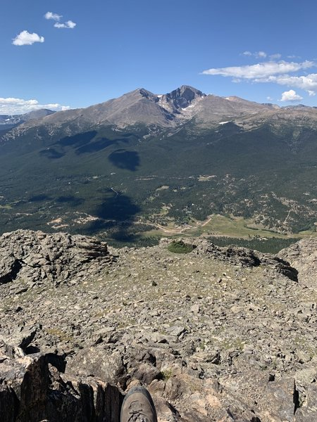 Left to right, Mount Meeker, Longs Peak, and Mount Lady Washington. The view looking southwest from the top of Twin Sisters Peaks.