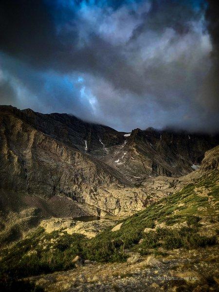 East Longs Peak Trail at Chasm Lake 08:00 am.