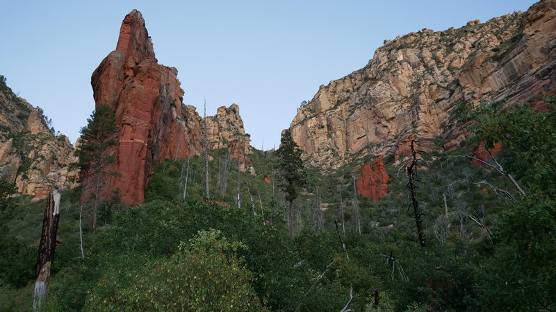Looking up the canyon with the center pinnacle.